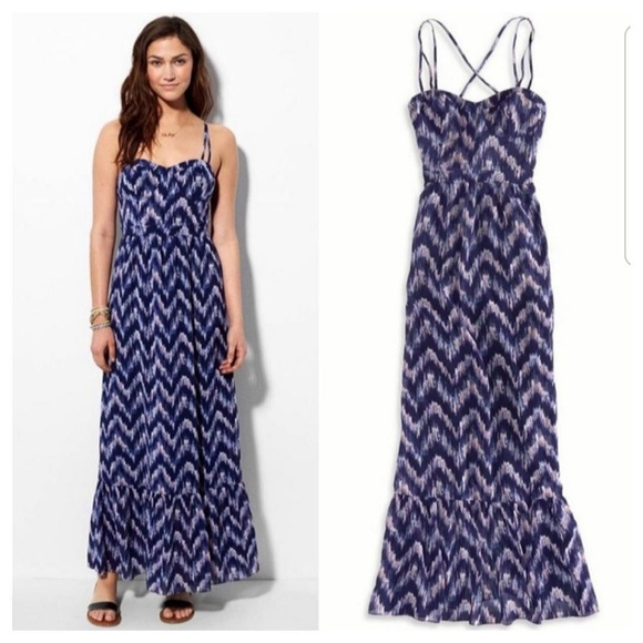 American Eagle Outfitters Dresses & Skirts - AEO Printed Maxi Corset Bustier Top Dress Navy